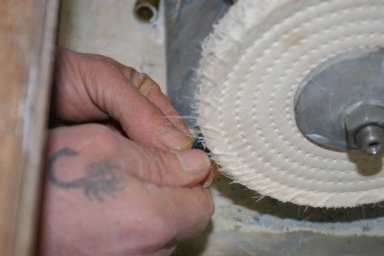 Hand polishing Jade